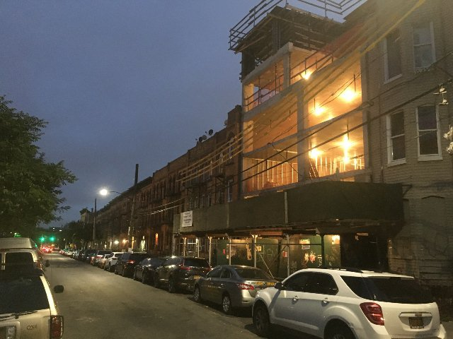 An under-construction residential development at 375 Grove Street in Bushwick, one example of out-of-character development in Bushwick cited in the Bushwick Community Plan, which was unveiled on Saturday.
