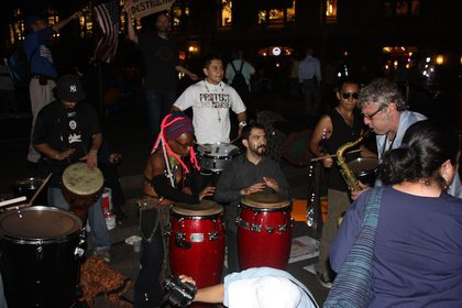 This drum circle only paused once for MSNBC's cameras