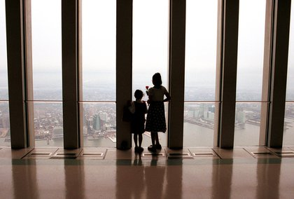 Lower observation deck of the World Trade Center, February 2001. (Hulton Archive / Getty Images)