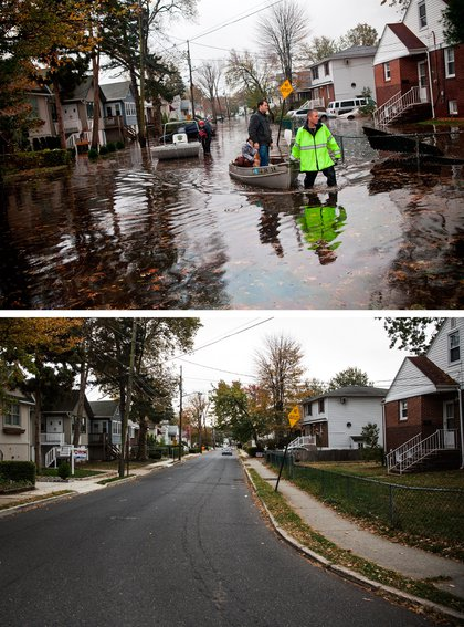 [Top] An emergency responder helps evacuate two people with a boat, after their neighborhood experienced flooding due to Superstorm Sandy October 30, 2012 in Little Ferry, New Jersey. [Bottom] The same street is shown in Little Ferry, New Jersey October 22, 2013.