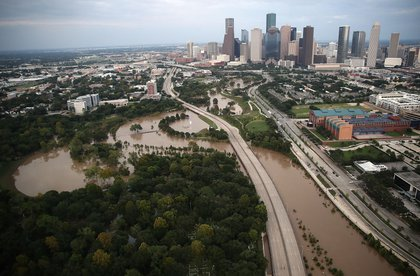 Flooding continues to be shown near downtown Houston following Hurricane Harvey August 30, 2017.<br>