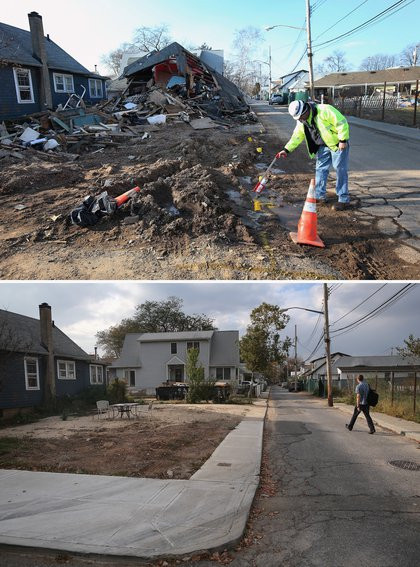 [Top] A gas worker marks a gas line in front of homes damaged by Superstorm Sandy on January 4, 2013 in the New Dorp area of the Staten Island borough of New York City. [Bottom] A lot sits vacant on October 17, 2013, having been cleared of a destroyed home after Hurricane Sandy.