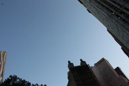 Can you spot the three NYPD helicopters hovering over Broadway?