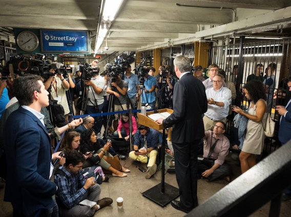 Mayor Bill de Blasio holds a media availability in regards to the MTA and poor train service in Manhattan in July.