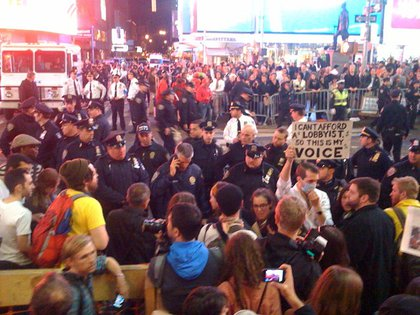 From an October confrontation between OWS and NYPD in Times Square