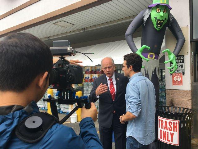 Rep. Dan Donovan being interviewed outside a ShopRite