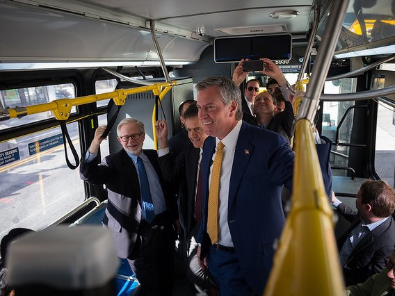 De Blasio rode the Westbound M23 Select Bus Service today.