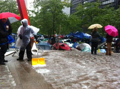 Occupy Wall Street keeps their blood moving in Zuccotti Park