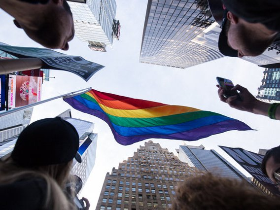 A protest in Times Square in 2017 to protest President Donald Trump's announcement of a ban against transgender people serving in the military.