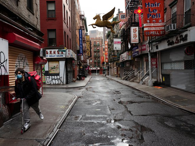 Pell Street during the coronavirus pandemic in Chinatown, NYC on April 13th.