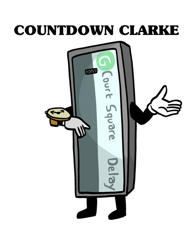 An illustration of Countdown Clarke, a countdown clock costume