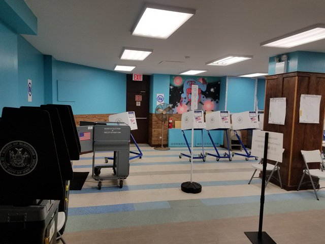 A poll site in Williamsburg on state and local primary day, September 2018.