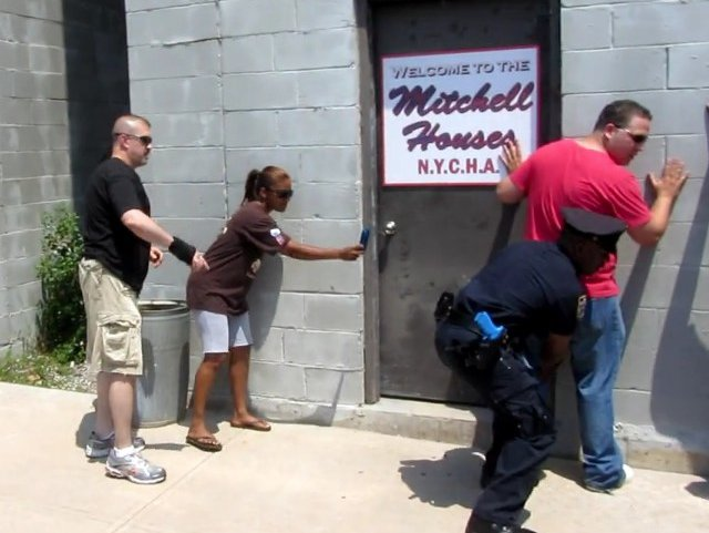 The NYPD runs through a stop-and-frisk training scenario at their training facility, which we toured in 2012.