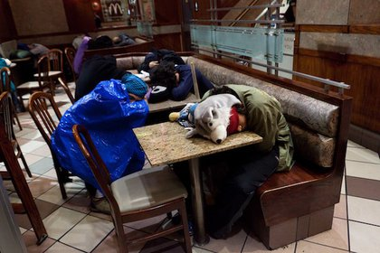 Protesters sleep in the nearby McDonalds this morning