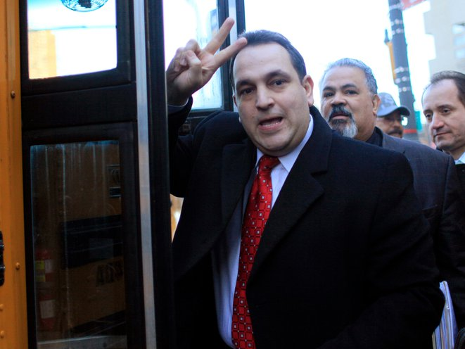 State Senator Hiram Monserrate leaves Federal court in Manhattan, in New York in February of 2010.