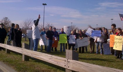 Around 25 protesters were outside the Wal-Mart in Fishkill, New York at around 1 PM