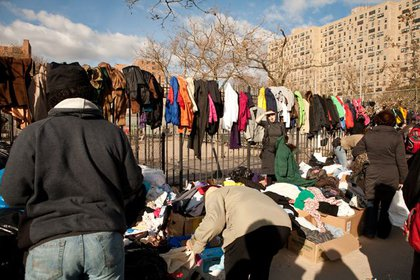 A clothing distribution station outside Carey Gardens in Coney Island