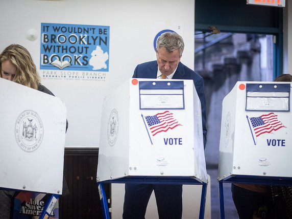 Mayor Bill de Blasio and First Lady Chirlane McCray vote in the 2018 general election at the Park Slope Library in Brooklyn on Tuesday, November 6th, 2018.