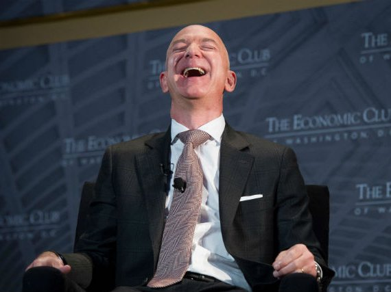 Jeff Bezos, Amazon founder and CEO, speaks at The Economic Club of Washington's Milestone Celebration in Washington