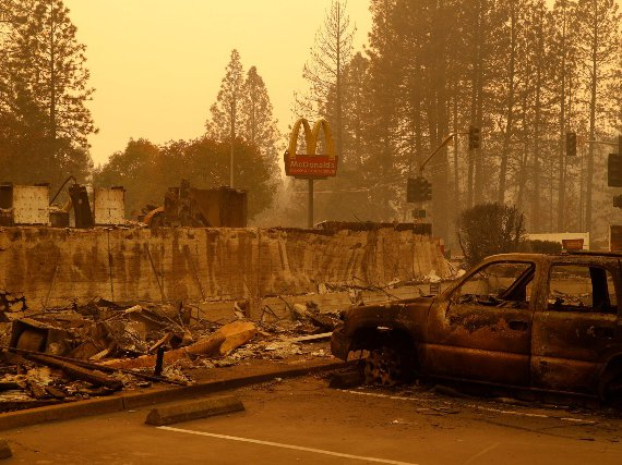 A sign still stands at a McDonald's restaurant burned in the Camp Fire, in the northern California town of Paradise.