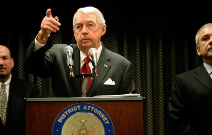 Brooklyn District Attorney Charles Hynes appears at a press conference in New York, Tuesday, Dec. 9, 2008 where he spoke about three New York police officers charged with participating in a sexual assault on a subway platform in October. The officers, Richard Kern, Alex Cruz and Andrew Morales, turned themselves in Tuesday.