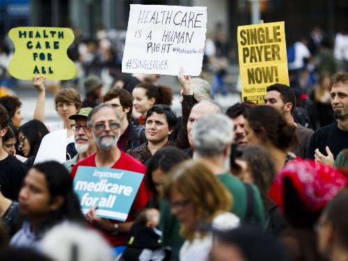 A Union Square rally in support of a single payer healthcare system.
