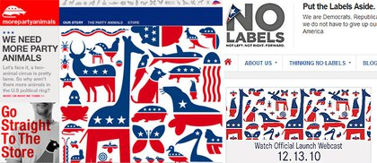 At left, Thomas design, as seen on the More Party Animals website. At right, the No Labels design.