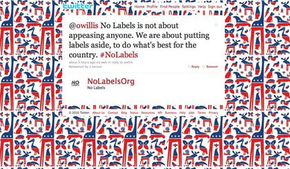 No Labels Twitter page last night.
