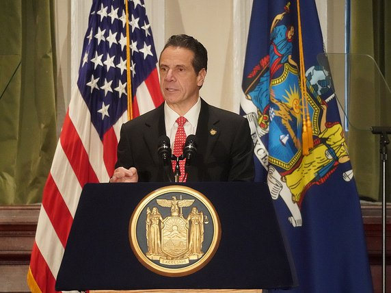 Governor Andrew Cuomo speaking at the Roosevelt House for Public Policy on Monday morning.