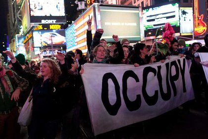 Protesters rally in Times Square
