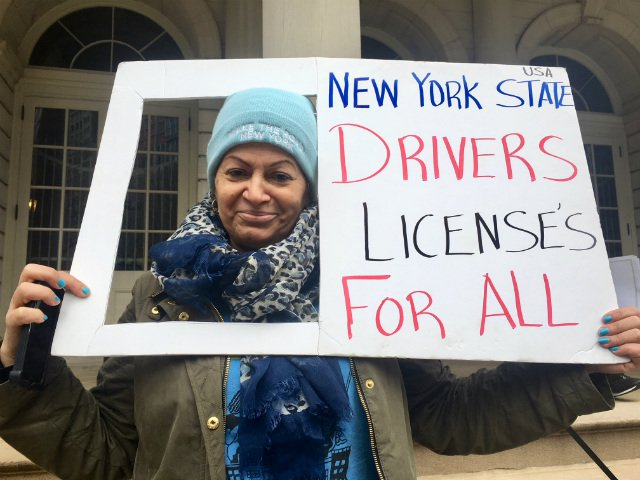 Cecilia Vasquez at a rally supporting driver's licenses for undocumented New Yorkers last December