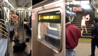 """In May, a video circulated of a man freaking out on a 6 train, yelling racial epithets at other subway riders as well as """"shoot me"""" to a cop, stripping down, and lunging at other riders waiting on the Bronx subway platform before being subdued by a cop."""