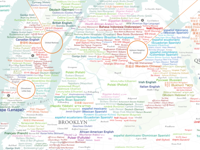 Dazzling Map Shows NYC's Incredible Linguistic Diversity ... on interview process map, lgbt map, humanity map, international education map, human impact map, economic value map, strategic plan map, niche map, coherence map, abortion rights map, respect map, wage gap map, classroom management map, race discrimination map, personal excellence map, feminism map, creative class map, student growth map, study abroad map, dominance map,