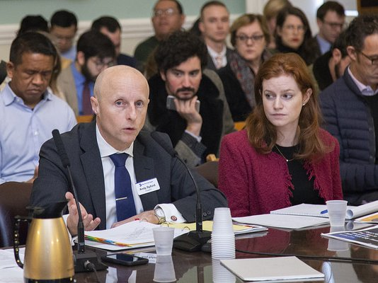 NYCTA President Andy Byford testifies before the City Council's Transportation Committee on Tuesday morning
