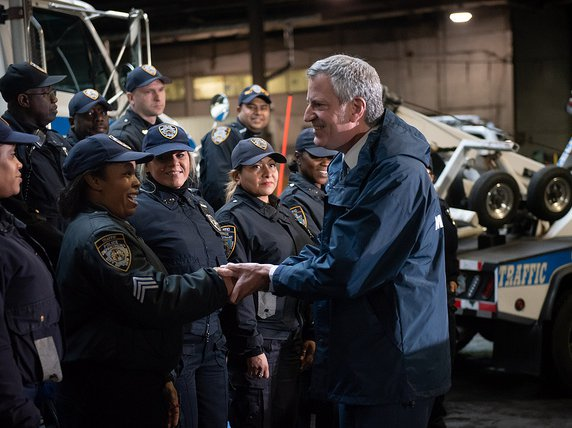 Mayor de Blasio at the NYPD tow pound on Manhattan's west side