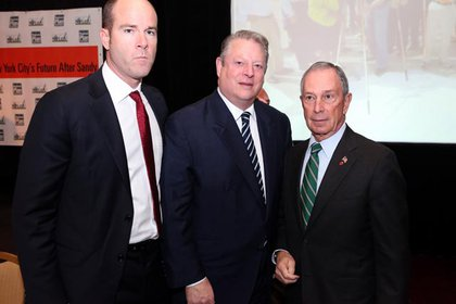 Former Vice President Al Gore is flanked by the executive director of the Sierra Club, Michael Brune, and Mayor Mike Bloomberg, in a photo shoot for Embalming Enthusiasts Quarterly