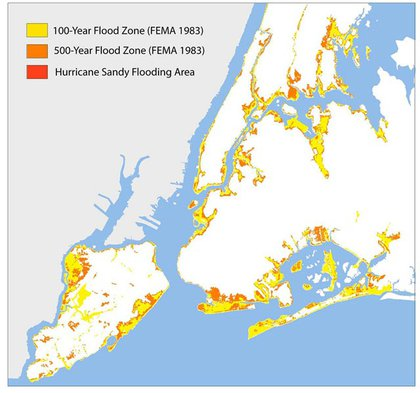 A slide showing FEMA's 100 and 500-year flood map for NYC made in 1982