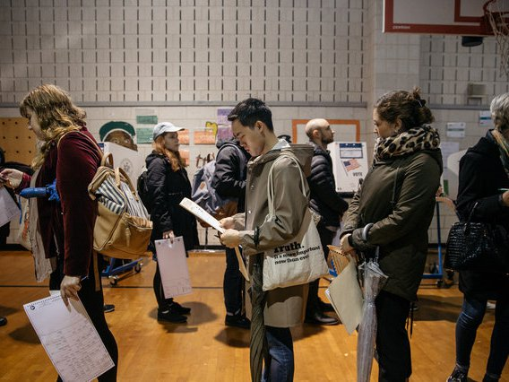 Voters line up in Crown Heights in 2018