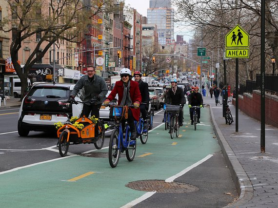 An example of a protected bike lane, installed last year on Chrystie Street, which runs north/south in Manhattan. Advocates would like to see similar treatments along crosstown routes.