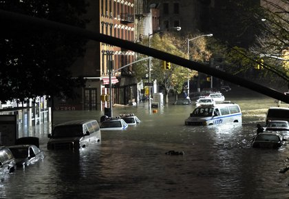 A general view of submerged cars on Ave. C and 7th st, after severe flooding caused by Hurricane Sandy, on October 29, 2012 in Manhattan. <br/>