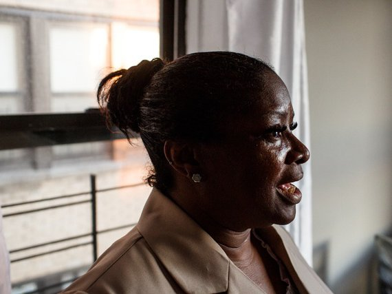 Karen Johnson, who says she was a victim of a years-long tenant harassment and sabotage scam by East New York landlord Yaniv Erez, in her new apartment in the Bronx.