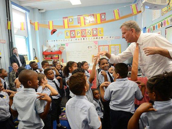 Mayor de Blasio visits a charter school in Manhattan.