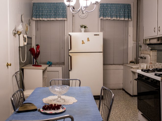 Jean's kitchen, where little has changed since midcentury.<br>