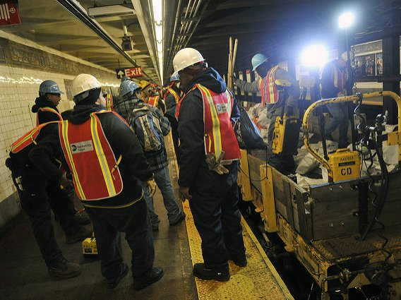 On November 7, 2012, crews work to repair circuits for pump motor controllers in the L train tunnel that were damaged by seawater during Hurricane Sandy.