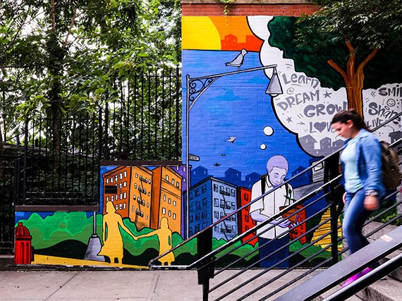 A mural in the Bronx completed through the New York City Mural Arts Project, which centers on reducing stigma around mental health issues.