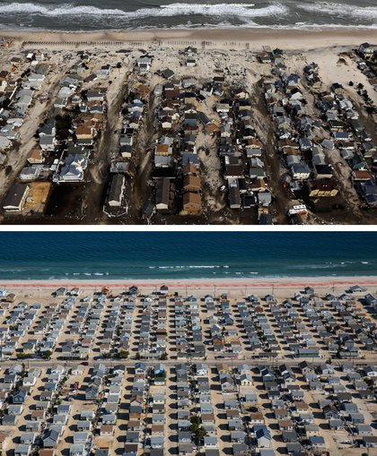 [Top] Homes are shown surrounded by sand and debris in Seaside Heights, New Jersey October 31, 2012. [Bottom] Homes are shown in Seaside Heights, New Jersey are shown October 21, 2013.