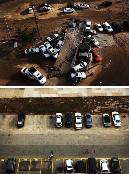 [Top] Abandoned and flooded cars are sit after Hurricane Sandy on November 2, 2012 in the Rockaway neighborhood, of the Queens borough of New York City. [Bottom] Cars sit in a parking lot on October 20, 2013.
