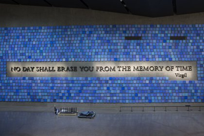 """A <a href=""""http://www.nytimes.com/2014/04/03/nyregion/an-inscription-taken-out-of-poetic-context-and-placed-on-a-9-11-memorial.html"""">semi-controversial </a>quote from """"The Aeneid,"""" made out of 9/11 steel <br/>"""