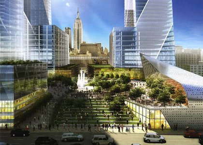 Rendering of Tishman Speyer's Hudson Yards plaza, with Empire State Building in the background.