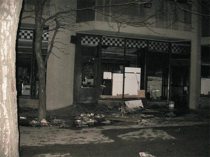 Aftermath--debris outside the store.